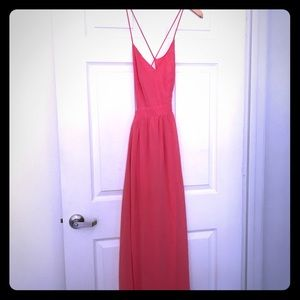 Rooftop Garden Backless Coral Maxi Dress